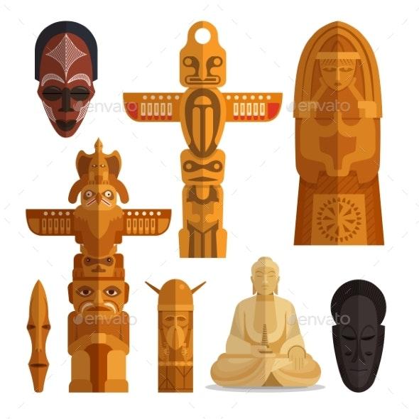 Set of Idols Flat Symbols Isolated on White - Religion Conceptual
