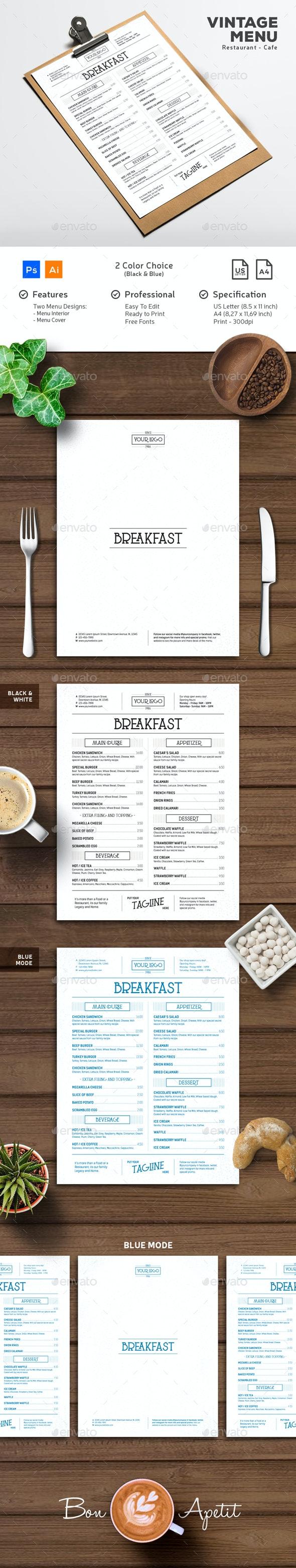 Menu Vintage Typography - Food Menus Print Templates