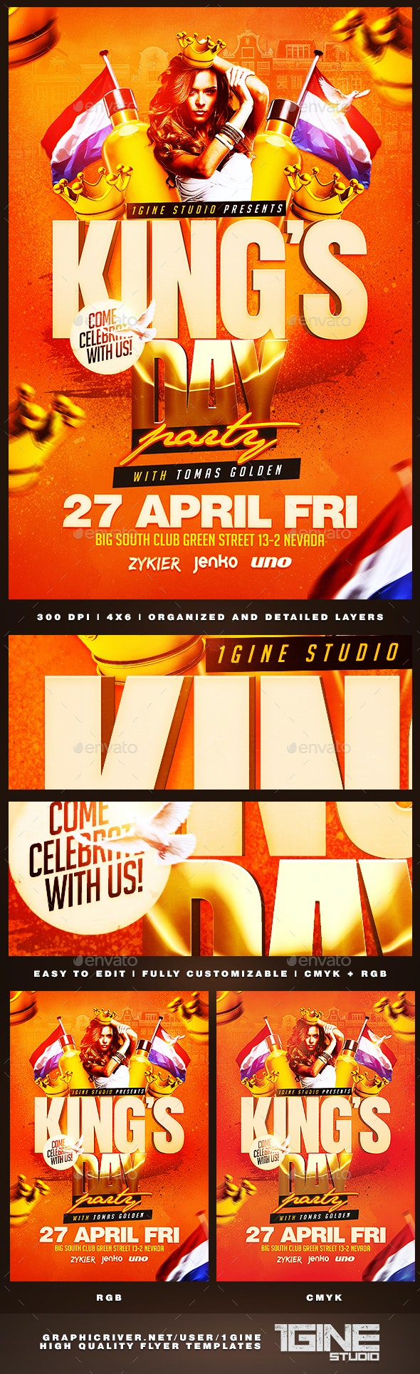 King's Day / KoningsDag Party Flyer Template - Holidays Events