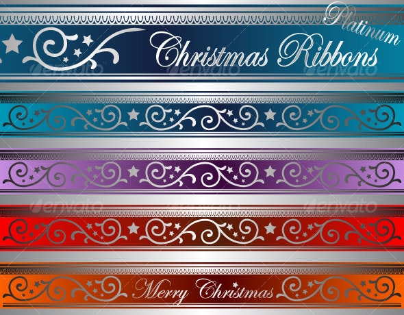 platinum christmas ribbons - Flourishes / Swirls Decorative