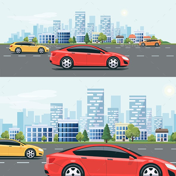 Urban Landscape Street Road with Cars and City Skyline Background - Travel Conceptual