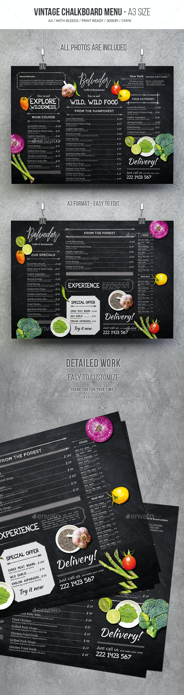 Vintage Chalkboard Menu - Food Menus Print Templates