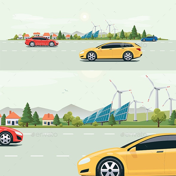 Urban Landscape Street Road with Cars and City Nature Background - Landscapes Nature