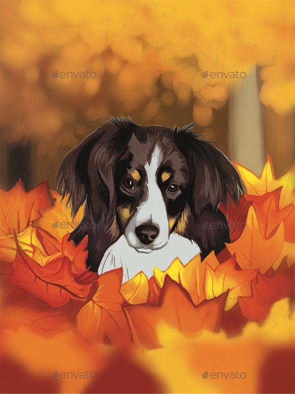 Dog in fall leaves - Animals Illustrations