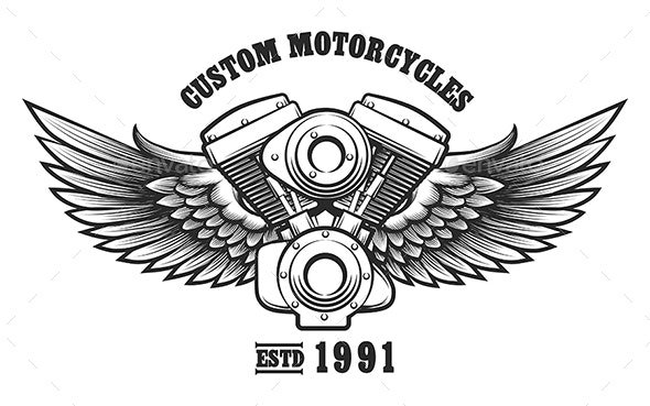 Custom Motorcycle Workshop Emblem - Tattoos Vectors