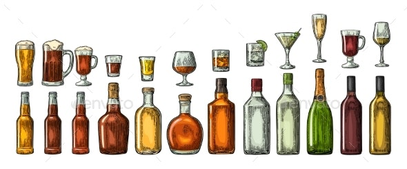 Set Glass and Bottled Alcohol - Food Objects