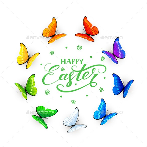 Butterflies on White Easter Background - Animals Characters