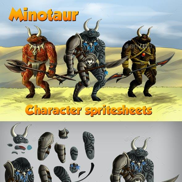 2D Game Minotaur Character Spritesheet