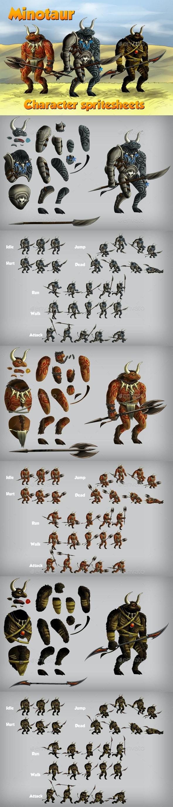 2D Game Minotaur Character Spritesheet - Sprites Game Assets