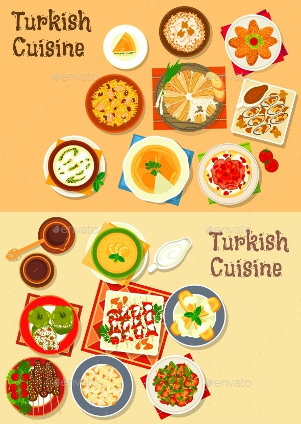 Turkish Cuisine Traditional Dinner Dishes Icon - Food Objects
