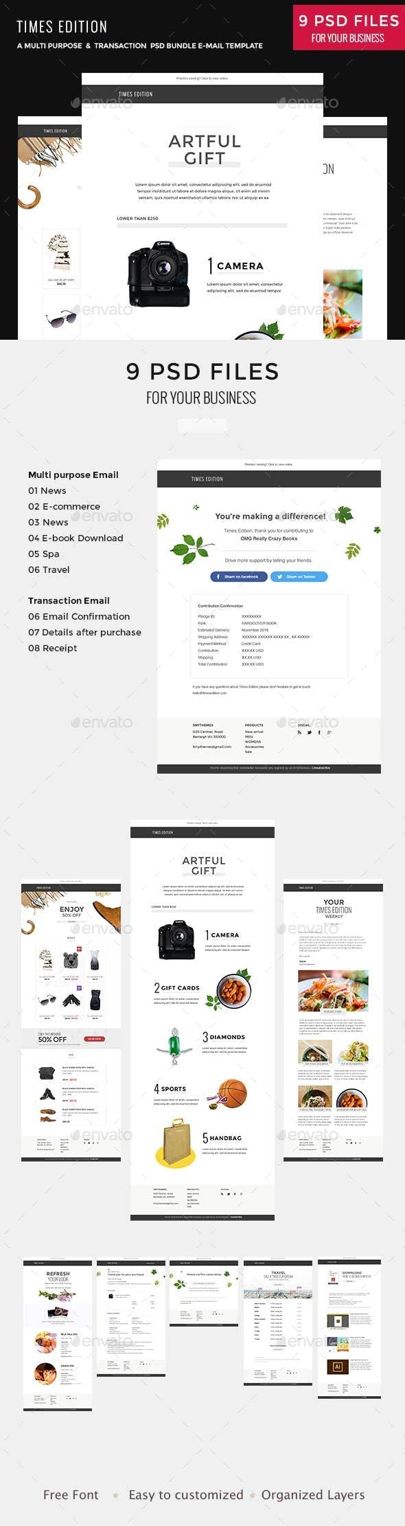 Times Bundle - Multi Purpose PSD Email Newsletter Template - E-newsletters Web Elements
