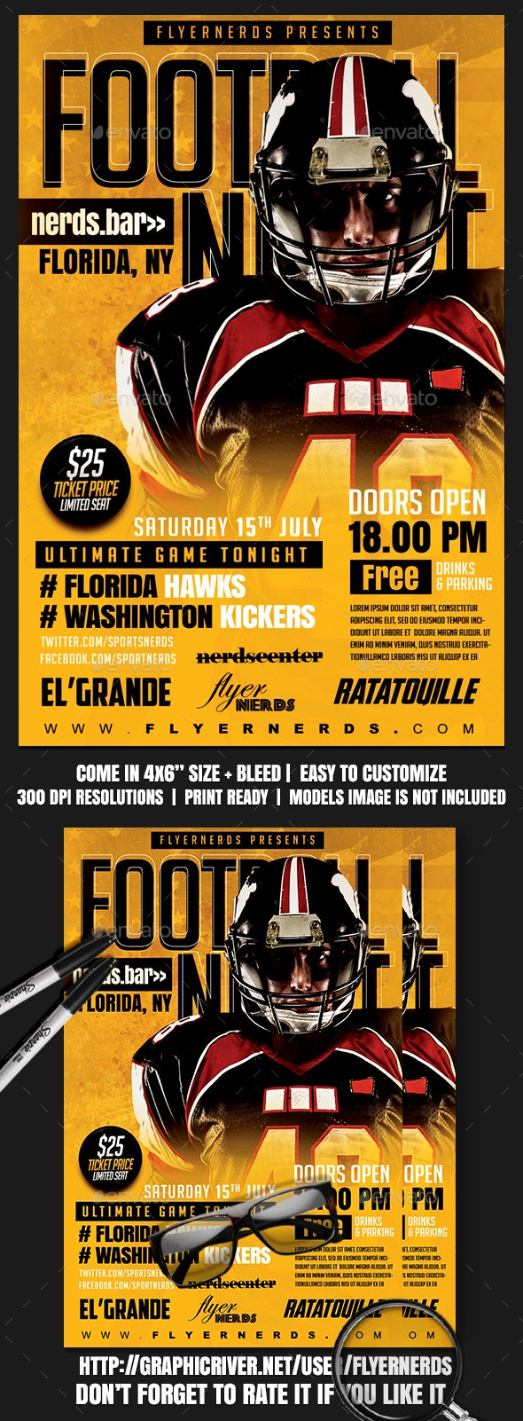 Football Night Sports Flyer - Sports Events