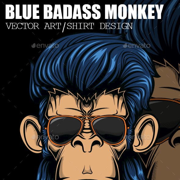 Blue Badass Monkey Vector