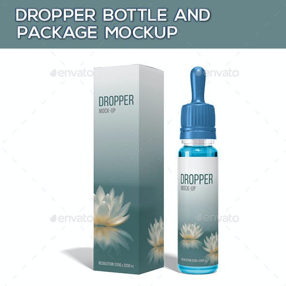 Dropper Bottle And Package Mock-Up