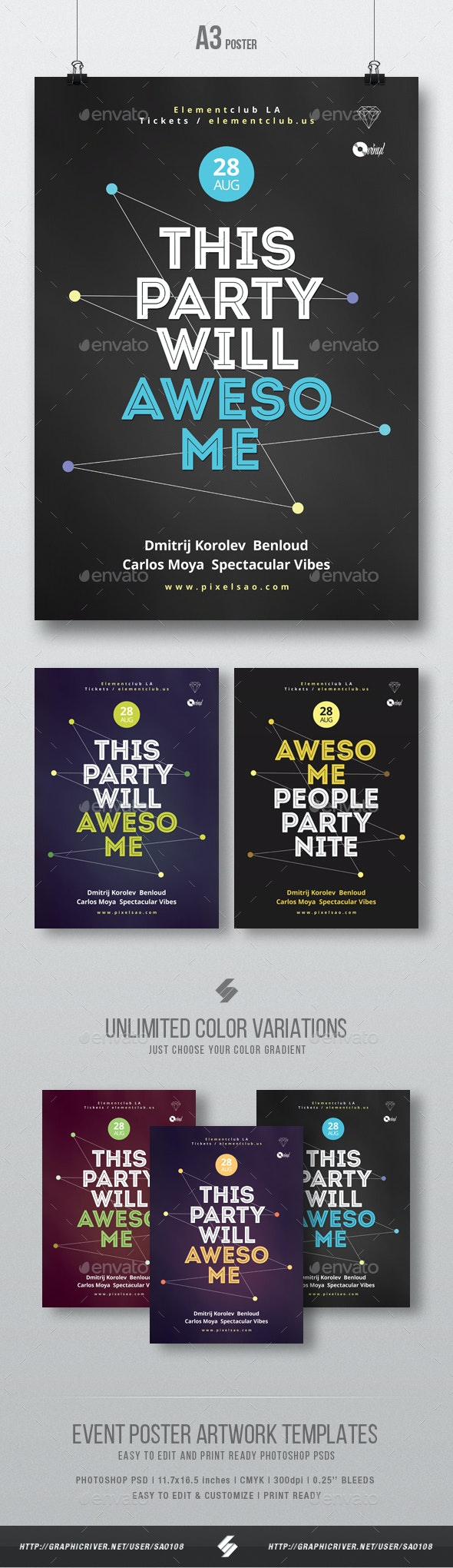 Awesome Party Night - Creative Poster / Flyer Template A3 - Clubs & Parties Events