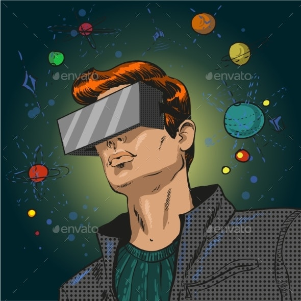Vector Pop Art Illustration of Young Man in 3D - People Characters