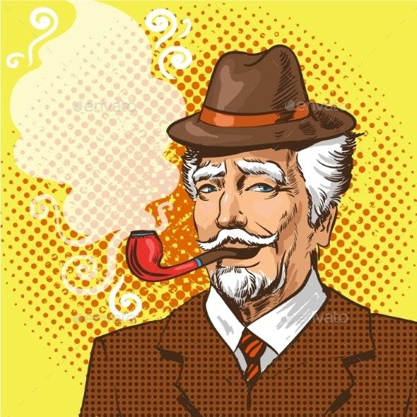 Vector Pop Art Illustration of Elderly Man Smoking - People Characters