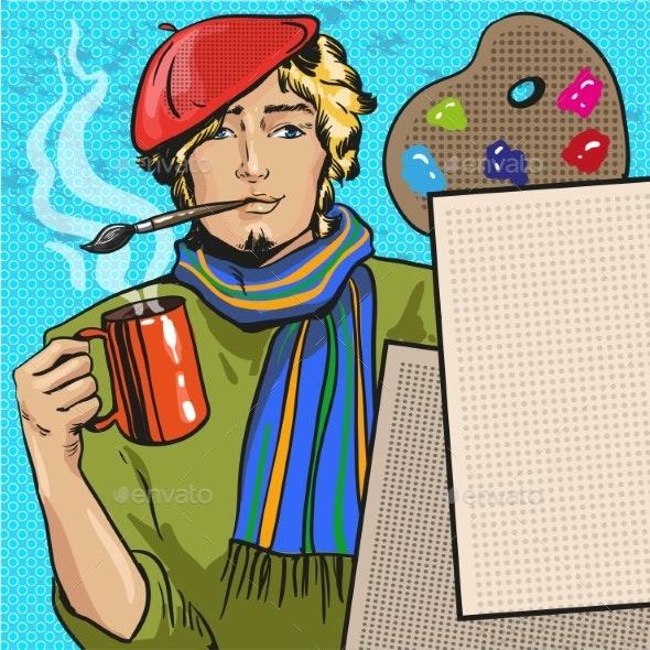Vector Illustration of Painter in Retro Pop Art - Miscellaneous Vectors