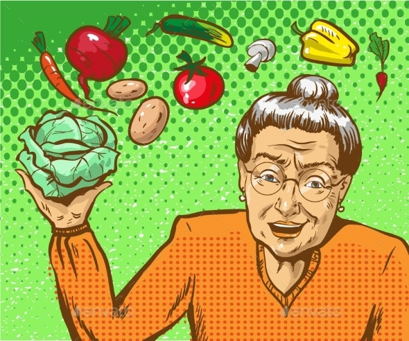 Vector Pop Art Illustration of Mature Woman - Food Objects