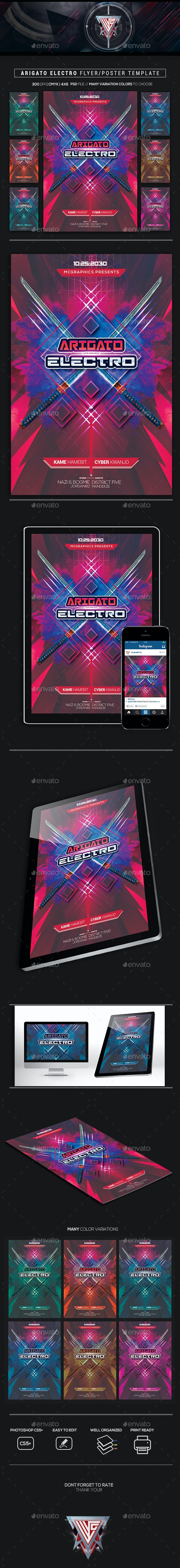 Arigato Electro Flyer/ Poster Template - Flyers Print Templates