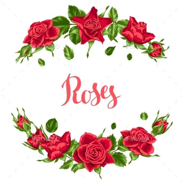 Decorative Elements with Red Roses - Flowers & Plants Nature