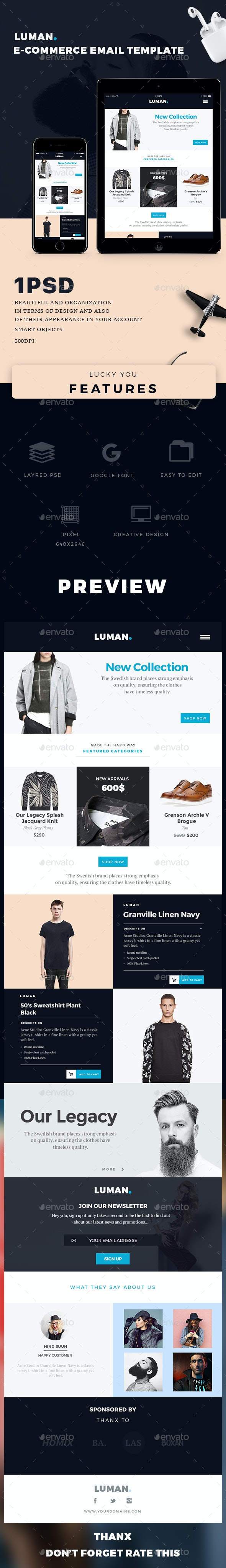 E-commerce Email Template - Luman - E-newsletters Web Elements
