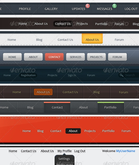 9 Creative, Clean & Simple Navigation Bars. - Navigation Bars Web Elements