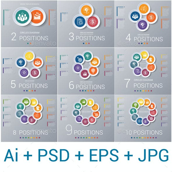 Circles diagram, data Elements For Template infographics 2,3,4,5,6,7,8,9,10 positions.