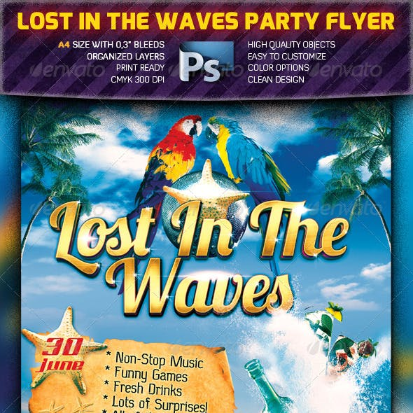Lost In The Waves Party Flyer