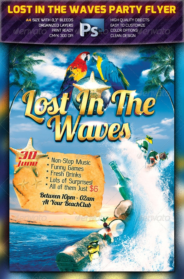 Lost In The Waves Party Flyer - Clubs & Parties Events