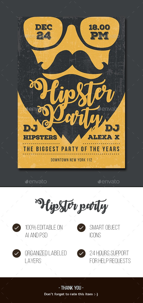 Hipster Party Flyer - Events Flyers