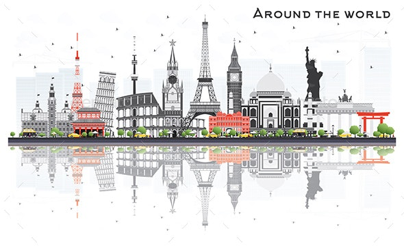 Travel Concept Around the World with Famous International Landmarks. - Buildings Objects