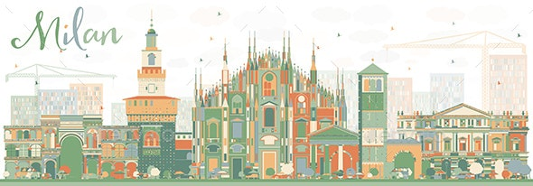 Abstract Milan Skyline with Color Landmarks - Buildings Objects