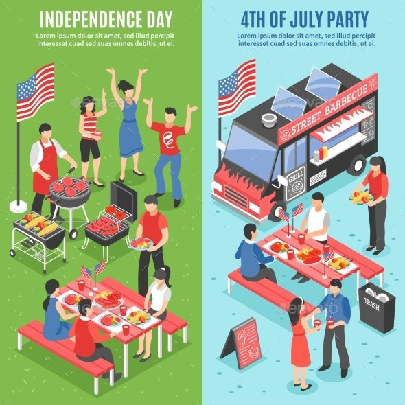 Barbecue 4th of July Banner Set - Food Objects