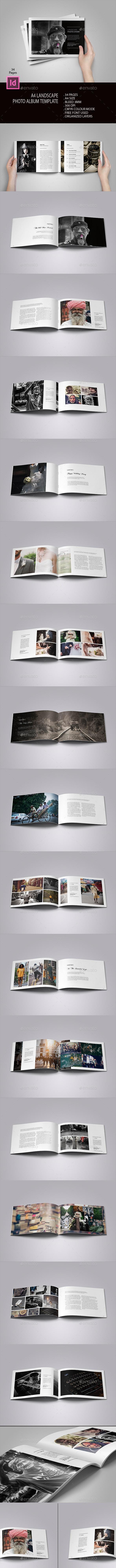 A4 Landscape Photo Album - Photo Albums Print Templates