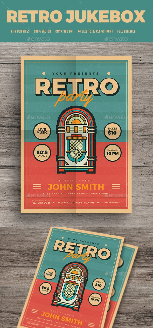Modern Retro Jukebox Party Flyer - Clubs & Parties Events