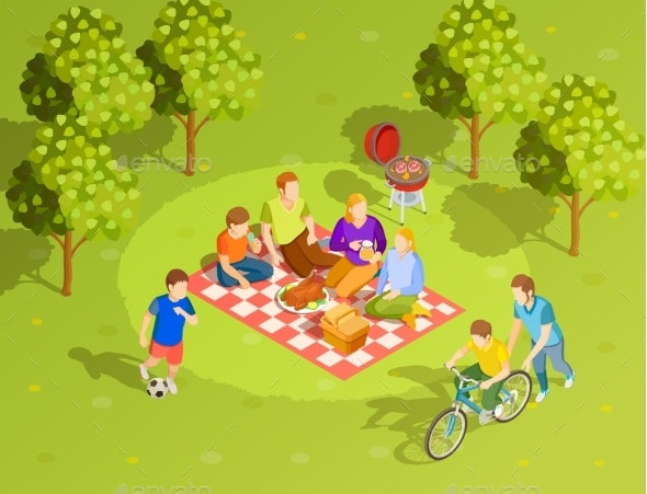Family Summer Countryside Picnic Isometric View - Food Objects