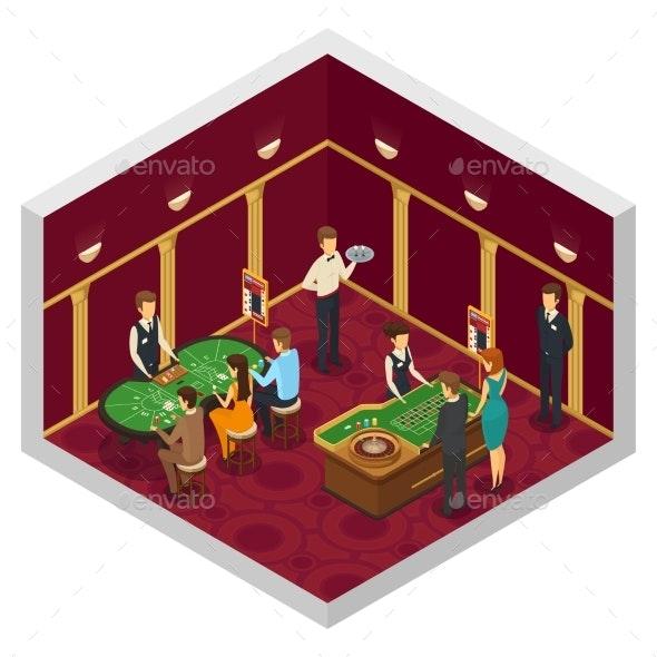 Colored Casino Isometric Interior - Miscellaneous Vectors