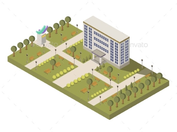 Isometric University and Campus Composition - Buildings Objects