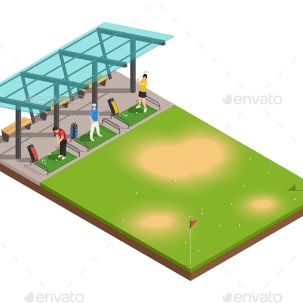 Golf Training Isometric Composition