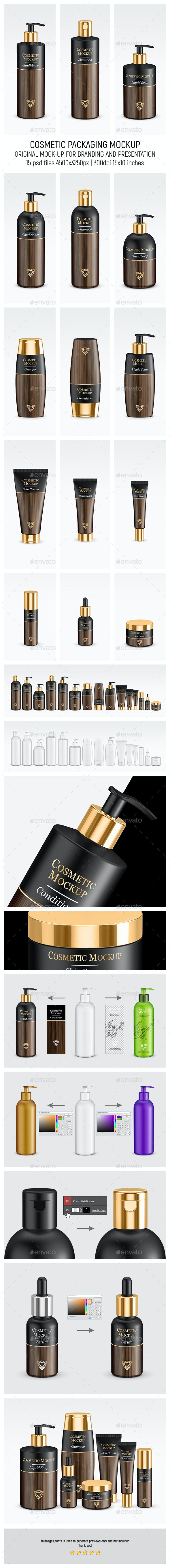 Gold Cosmetic Packaging Mock-up - Beauty Packaging