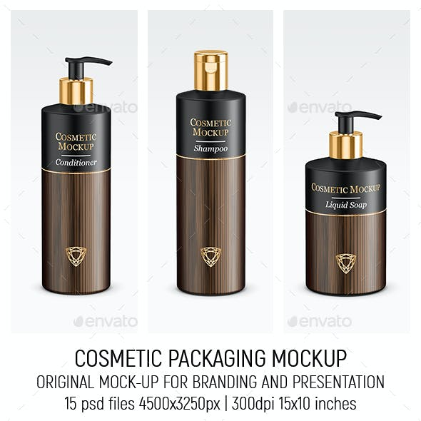 Gold Cosmetic Packaging Mock-up