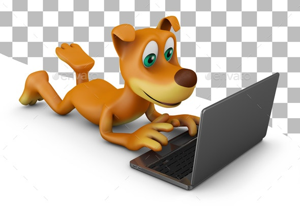 Dog with a Laptop - Characters 3D Renders