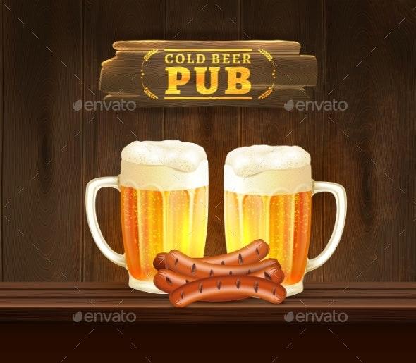Beer Pub Illustration - Food Objects