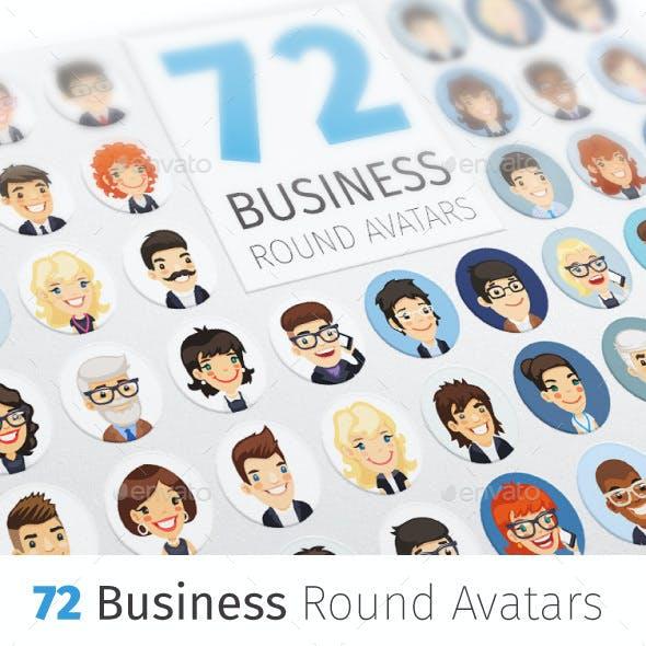 Flat Businessmen Round Avatars Collection
