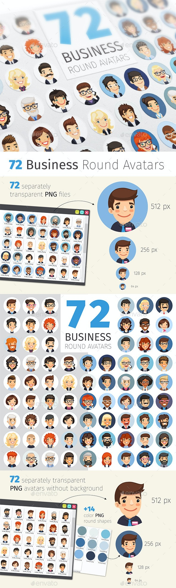Flat Businessmen Round Avatars Collection - Business Icons