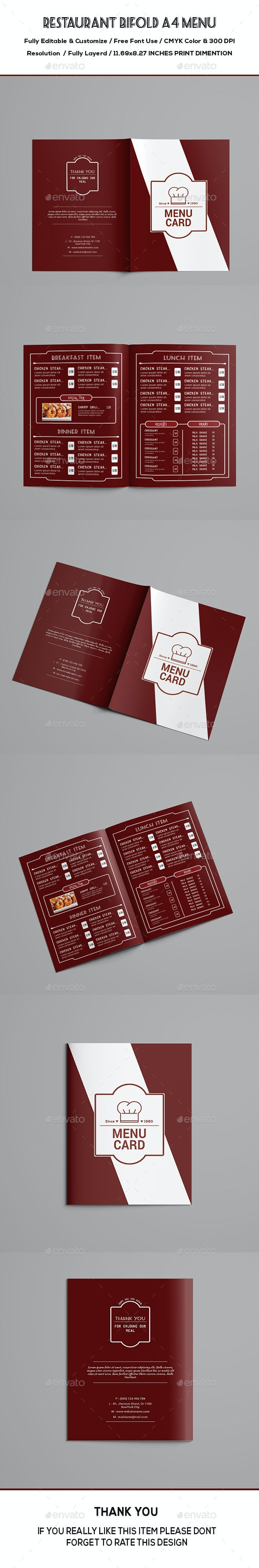 Restaurant Bifold Menu - Food Menus Print Templates