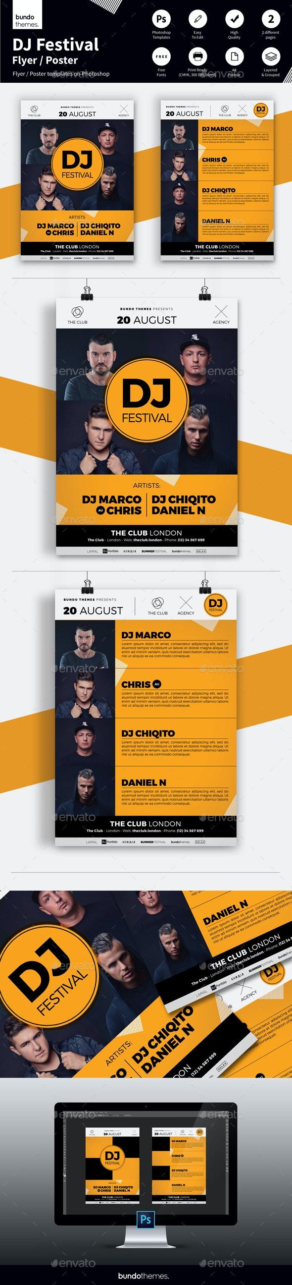 DJ Festival Flyer - Clubs & Parties Events