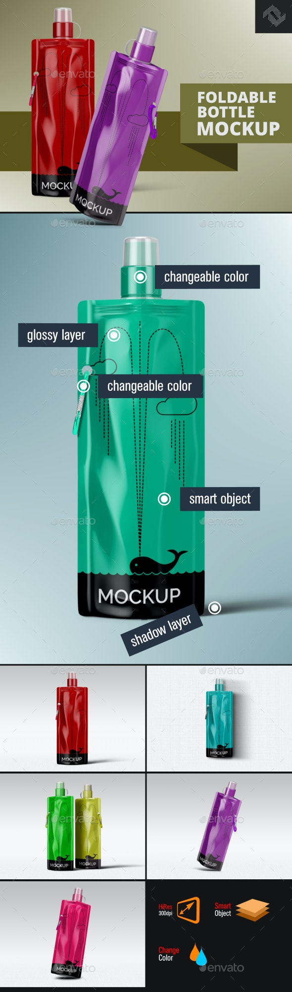 Foldable Plastic Water Bottle Mockup - Food and Drink Packaging
