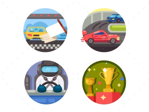 Set of Race Icons - Miscellaneous Vectors